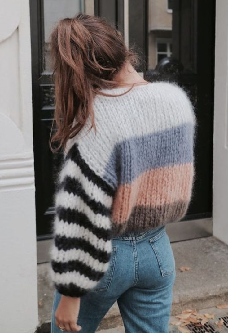 multi colored chunky knit sweater