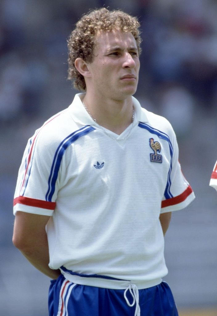 Jean-Pierre Papin lines up for France prior to the FIFA World Cup match between Hungary and France at the Nou Camp Estadio Leon, in Leon, 9th June 1986. France won 3-0.