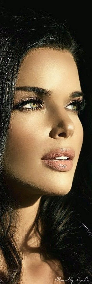 Beautiful face picture. Who is she? Black hair grey eyes pink lips small nose silk make up
