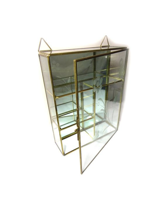 Vintage Glass Curio Cabinet Glass Display Case By FoureverSeven