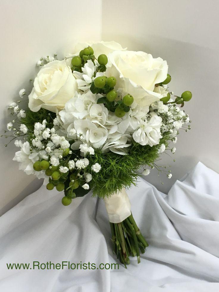 White Roses Hydrangea Baby S Breath Green Hypericum