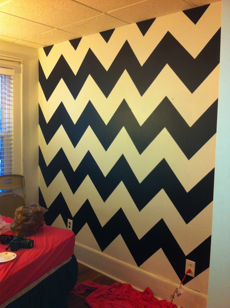 Black and white Chevron bedroom walls