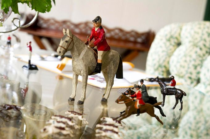 Horse and jockey motifs also add an equine touch to your tabletops. Altschul purchased her antique figurines from the estate of John Hay Whitney from Sotheby's in 1999.