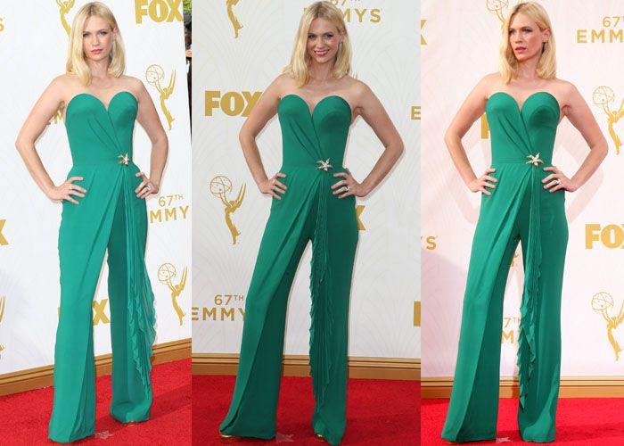 "January Jones Celebrates On-Screen Husband Jon Hamm's Emmy Win in a Jumpsuit and Stuart Weitzman ""Bebare"" Heels"