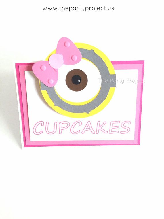 Girl Minion Place cards! - Pink Minions food tents! Great idea to decorate your Minions candy bar for a baby shower celebration or birthday party! - Despicable Me theme by thepartyprojectshop
