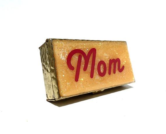 Mom Vintage Metal Box  Orange Glitter Pillbox  by retrovertigo, $20.00