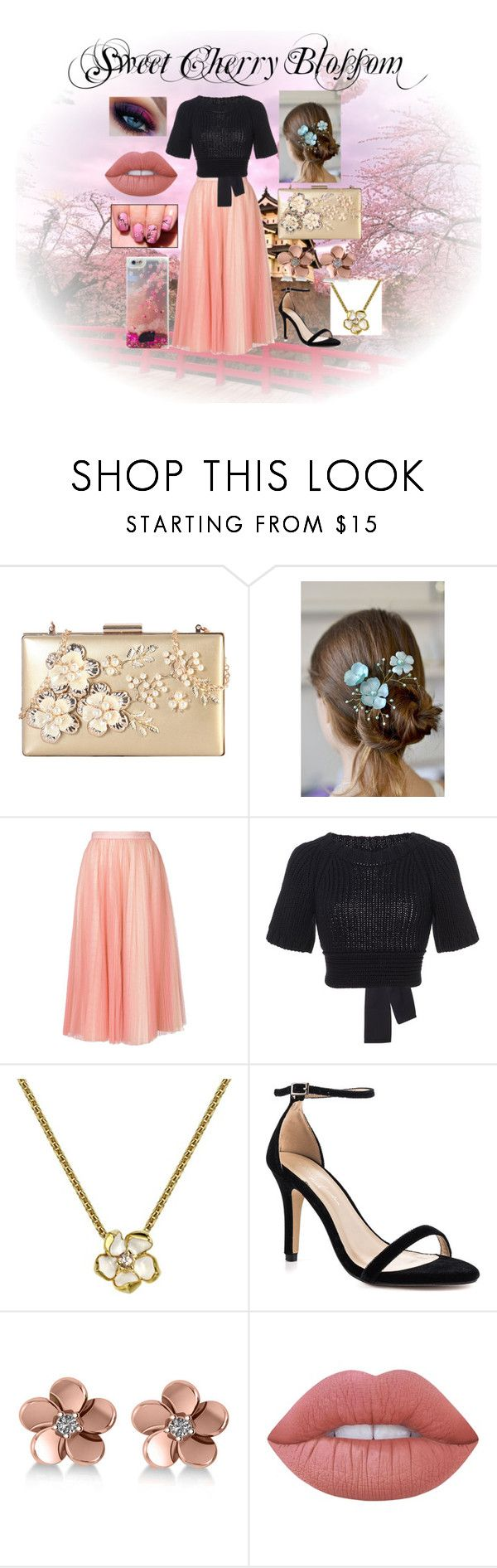 """Sweet Cherry Blossom"" by kristasmiles ❤ liked on Polyvore featuring Rimen & Co., Philosophy di Lorenzo Serafini, RED Valentino, Shaun Leane, Pink Paradox London, Allurez and Lime Crime"