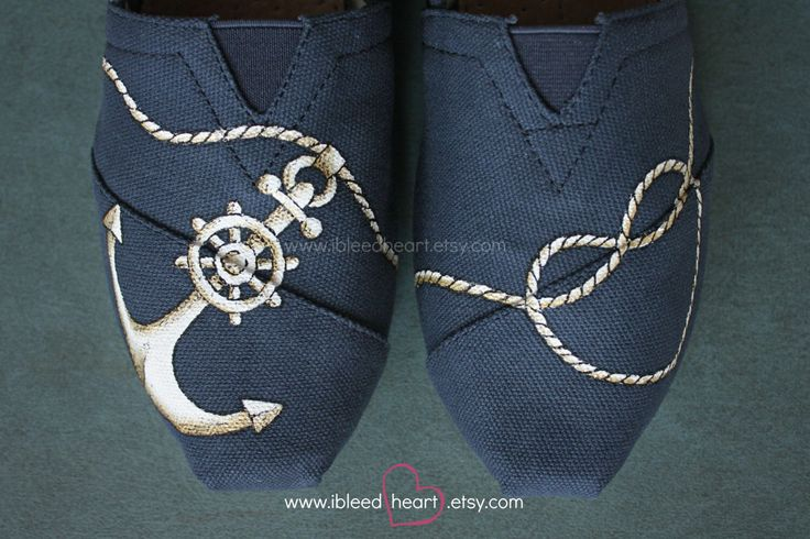 Navy Anchor and Rope Heart Custom Painted TOMS Shoes - Wedding Shoes - Anchor…
