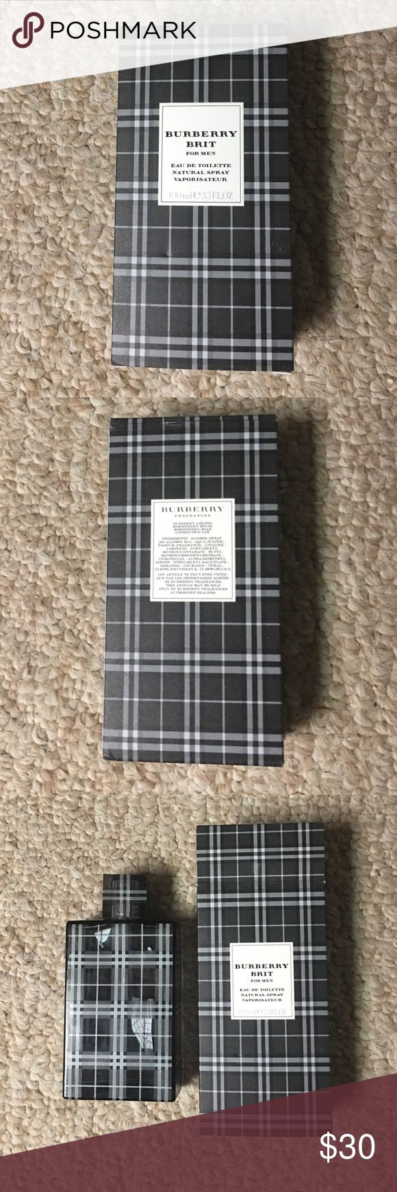 """Burberry Brit for Men Natural Spray 33 FL OZ Bought this for myself about a year ago and my girlfriend told me immediately that she """"hated"""" it, so I only wore it TWICE! This bottle is almost completely full. Burberry Accessories"""