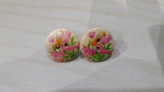 99p Button earrings tulip design post earrings by KelwayCraftsYorkshir