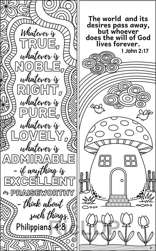 Set of 8 Bible Coloring Bookmarks - Cute Christian Markers ...