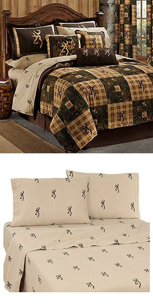 Browning Country 8 Piece Queen Size Comforter Bedding Set (1 Comforter, 2 Shams, 1 Bedskirt, 1 Flat Sheet, 1 Fitted Sheet, 2 Pillow Cases) - Hunting Cabin Lodge Rustic Bedroom Decor