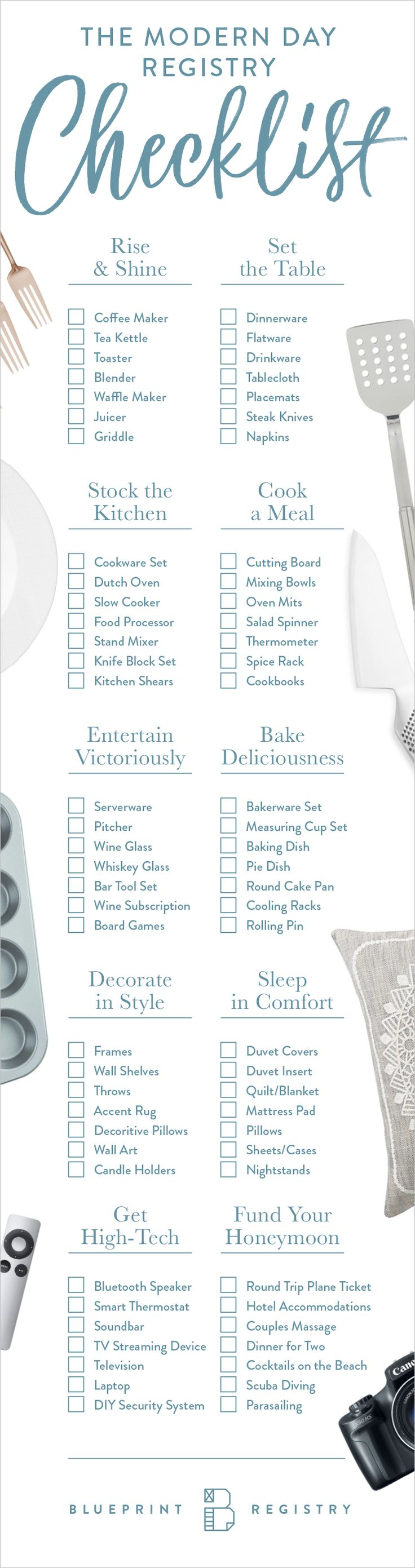 printable bridal registry list%0A A modern registry checklist for the modern day couple  Blueprint Registry  is an innovative wedding registry that allows you to register for  experiences