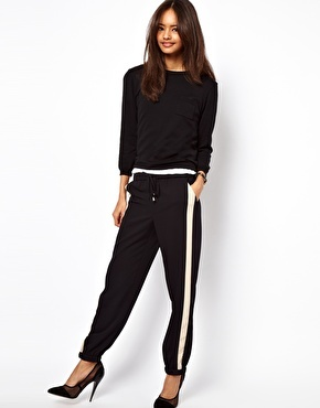 """the dressy """"track pant"""" - ASOS PETITE Exclusive Contrast Detail Cuffed Pants"""