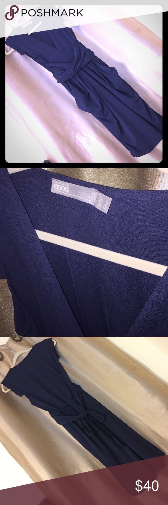 ASOS Curve Dress Obi Wrap ASOS Curve navy blue crepe dress with Obi Wrap. Size 14 has pockets! ASOS Curve Dresses