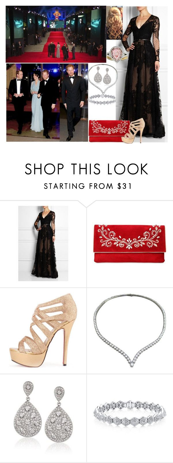 """""""Attending the British Premiere of Spectre with Harry, Will, and Kate"""" by duchess-rebecca ❤ liked on Polyvore featuring James Bond 007, Elie Saab, Casadei, Van Cleef & Arpels, Ross-Simons and Diana M. Jewels"""