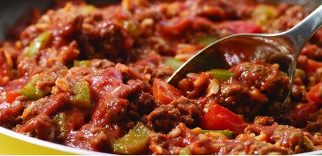 """""""Unstuffed"""" peppers - if you like the taste of stuffed peppers but lament the empty shells left behind by picky eaters, this recipe will ensure clean plates all around. This versatile beef-and-pepper mix makes a great pasta topping, tortilla or Sloppy Joe filling."""