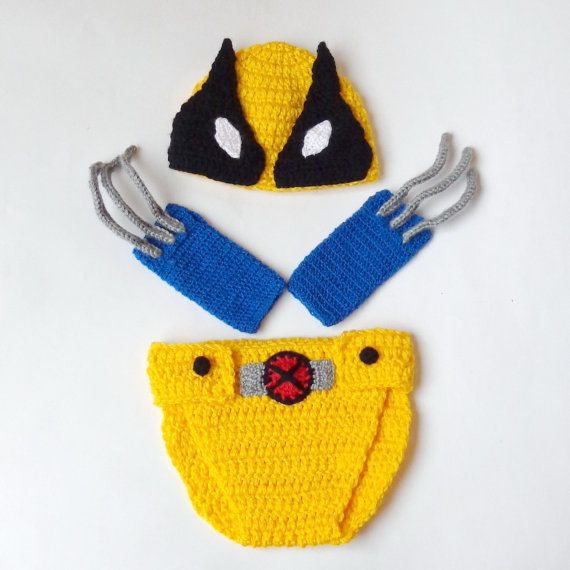 Wolverine Marvel Hat And Diaper Cover Wirh Gloves by KernelCrafts