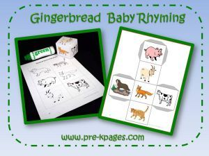 Gingerbread Baby rhyming game via www.pre-kpages.com
