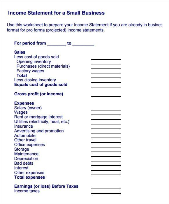 28 Small Business Financial Statement Template In 2020 Income Statement Statement Template Profit And Loss Statement