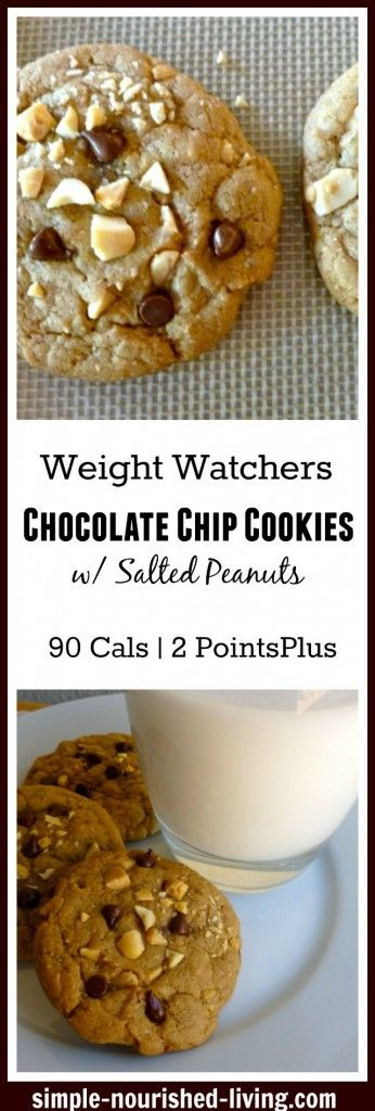 Weight Watchers Chocolate Chip Cookies with Salted Peanuts. A sweet treat with only 90 calories, 2 Weight Watchers Points Plus http://simple-nourished-living.com/2015/09/weight-watchers-chocolate-chip-cookies-with-salted-peanuts-recipe/