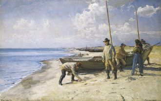 Viggo Johansen: Dividing the catch. 1885   Skagens Kunstmuseer    Art Museums of Skagen