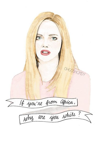 Karen Smith from Mean Girls watercolour portrait PRINT Amanda Seyfried ''If you're from Africa, why are you white?''