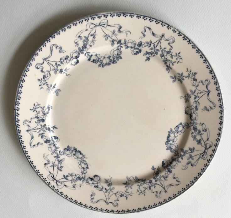 Antique French platter SARREGUEMINES U&C, Mozart, shabby chic, blue transferware by ArteEtBrocante on Etsy