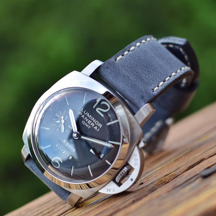Panerai 233 on Storm blue leather watch strap - Toshi Straps