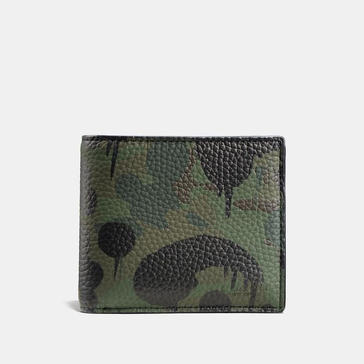 Coach Compact Id Wallet With Wild Beast Camo Print