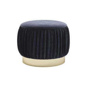 René Pouf | Laskasas | Decorate Life | www,laskasas.com |   René Pouf is a blue fabric upholstery with gilded stainless steel footer. This bedroom pouf is the perfect detail on your warm and cosy bedroom decor.