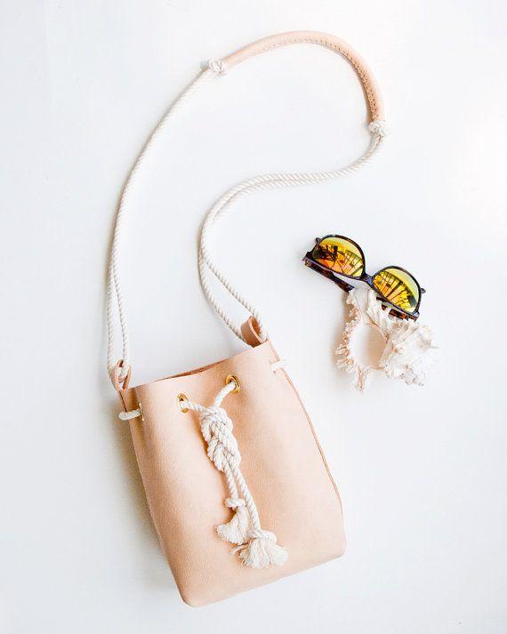 Nude Leather Bucket Bag Mini Crossbody