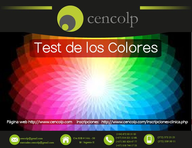 Cencolp | Área de Actualizaciones Profesionales - Test de los Colores #psicologia #facebook #videos #universitario #recursos #humano #educativo #test #educacion #sabado #trabajo #work #psychology #psicologos #docentes #pais #people