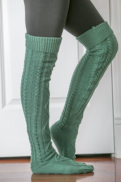Knee High Boot Socks Knitting Pattern : Best 25+ Cable knit socks ideas on Pinterest Over the knee sock boots, Sock...