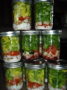 My favorite Mason Jar salads! They last over a week, so easy lunch with no prep work! Plus, here are several recipes, so you'll never get bored!