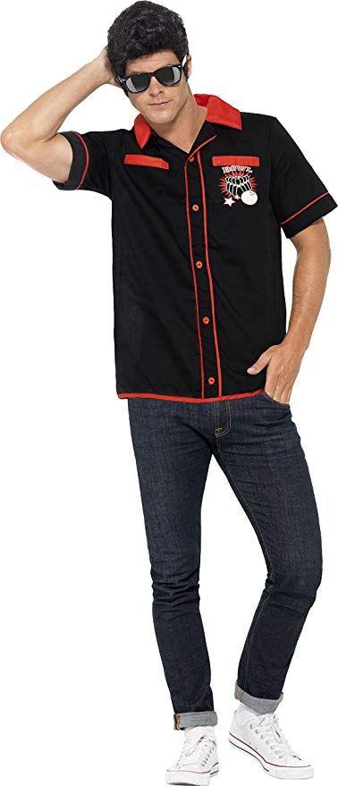 6462cc31115b 50s Costumes | Black red 50s Bowling Shirt | Vintage Halloween ...