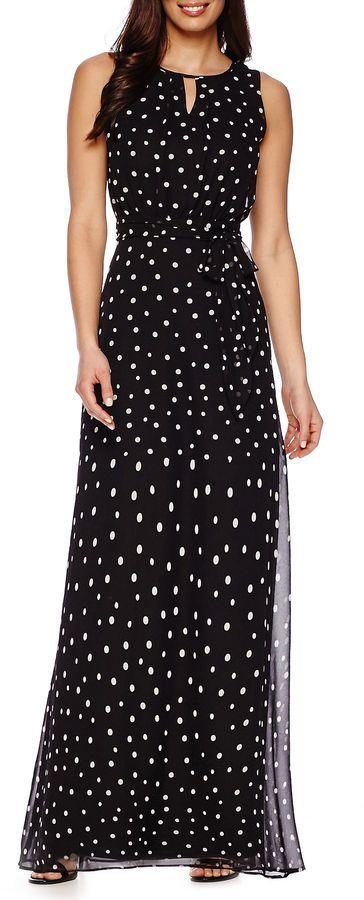 Danny & Nicole Sleeveless Polka Dot Chiffon Maxi Dress