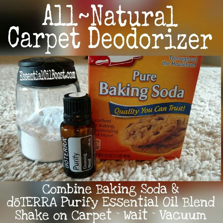 All Natural Carpet Deodorizer with dōTERRA Purify Cleansing Blend! Shake On Carpet ~ Let Stand ~ Vacuum! Great for smelly Carpets & to clean carpets without chemicals! www.EssentialOilBoost.com