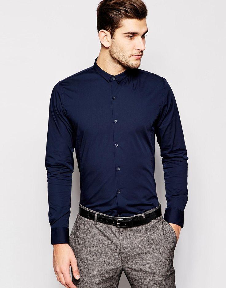 Hemd von Vito klare Baumwolle Kurze Knopfleiste enge Passform Maschinenwäsche 100% Baumwolle Model trägt Größe M und ist 188 cm/6 Fuß 2 Zoll groß