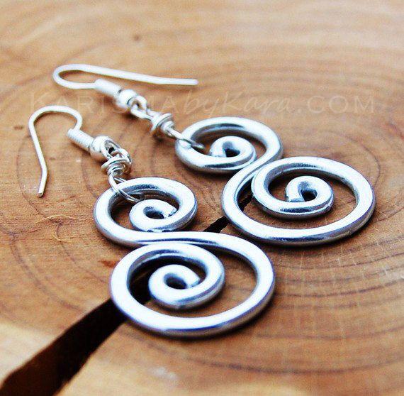 Aluminum Earrings Scroll Spiral. Wire by Karismabykarajewelry