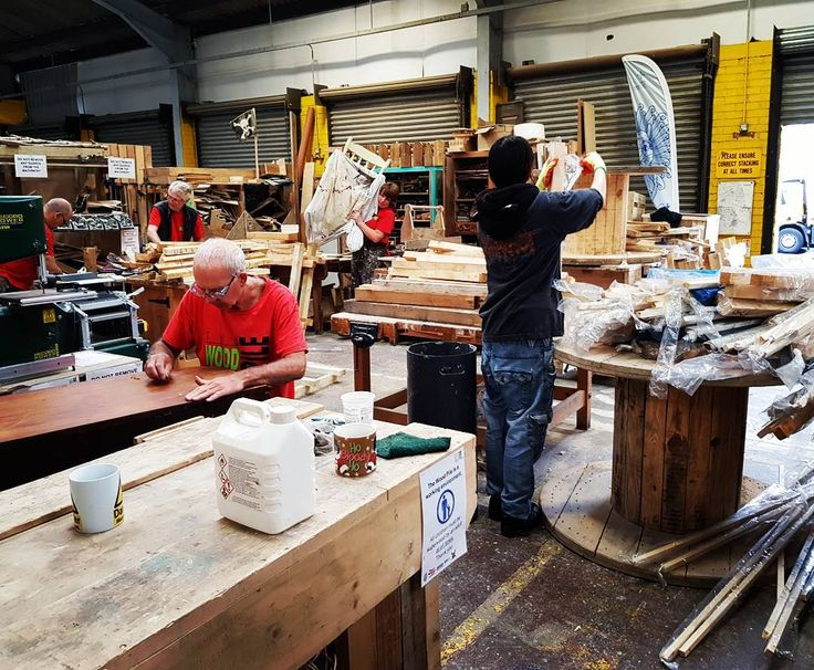 woodpiledurhamEveryone working hard after a collection. Sorting all of the wood and working on other projects.  #wood #woodworkers #woodworking #collection #warehouse #hardatwork #joinery #staff #volunteer #clients