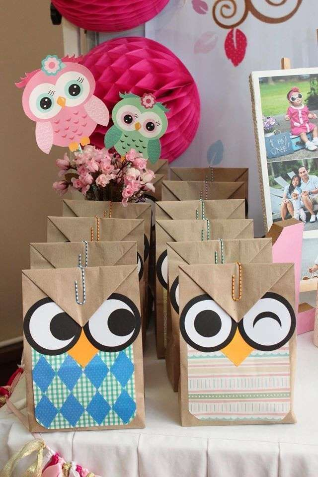 Fun favor bags at an owl birthday party! See more party ideas at CatchMyParty.com!