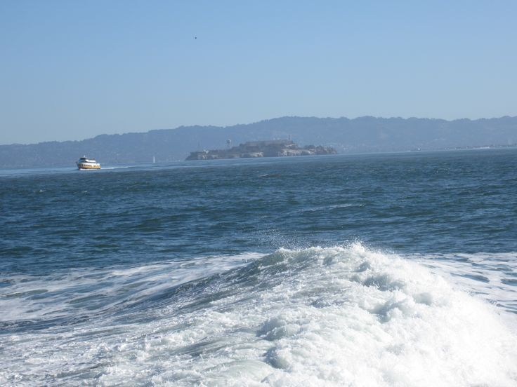 The Fort Point wave in San Francisco Bay looking towards Alcatraz Island. where is my wingman....