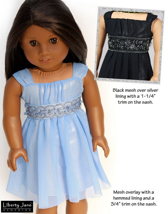 Pattern Overview: Aspen's party dress is perfect for the holidays or any special occasion. Your American Girl® Doll will be delighted with a new dress made from this sewing pattern from Liberty Jane Clothing. The pattern is designed to use a variety of lightweight fabrics, such as