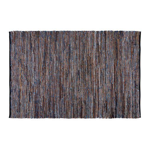 Geflochtener Teppich aus Baumwolle und Leder blau/braun 140x200cm JEANA