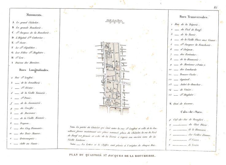 Plan du quartier Saint-Jacques-de-la-Boucherie - plan de Paris en 1839 - Dressé par Charle & gravé par P. Rousset pour J. de Marlès à Bruxelles