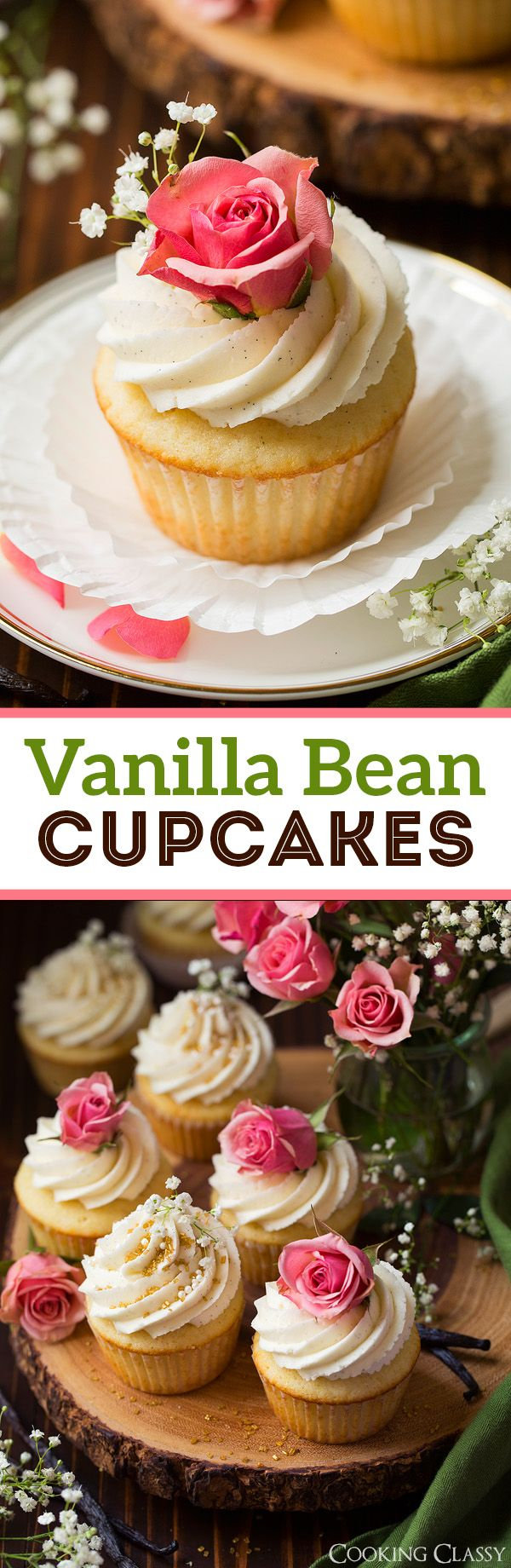 Sweet vanilla bean cupcakes topped with a rich vanilla bean frosting. Packed with natural vanilla flavor and perfect for any occasion.
