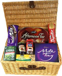 Food Ireland Thinking of You Basket $89.99 - We've created this beautiful gift basket with more than enough food to feed a small gathering. It includes the following items: Jacobs Afternoon Cookies 1kg, Cadburys Milk Tray 200g, Bolands Cream Crackers, Maxwell House Mild Blend Coffee 100g, Chivers Strawberry Jam 454g, Lyons Original Blend tea Bags 80's, Bolands Digestives and Cadburys Mini Rolls!