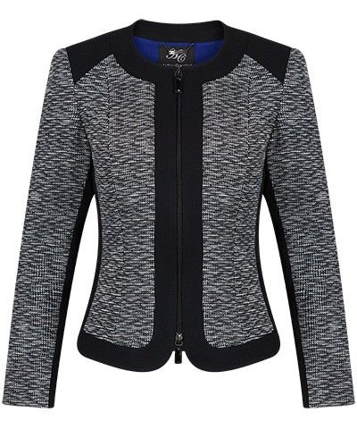 Black and Ivory Zip Front Jacquard Panel Jacket - Anthea Crawford | Australia