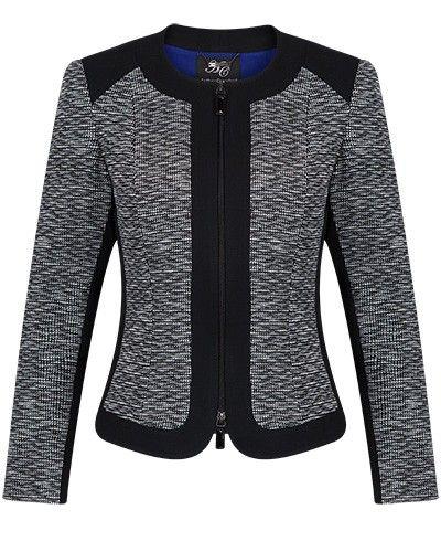 Black and Ivory Zip Front Jacquard Panel Jacket - Anthea Crawford | Australia